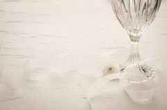 Elegant Table Setting with Crystal Glass. Horizontal with room or space for copy, text, words. Stock Photos