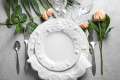 Elegant table setting. With floral decor stock photos