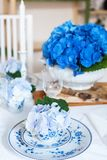 Elegant table setting with flowers Royalty Free Stock Images