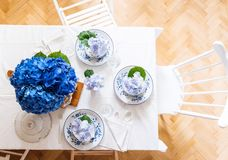 Elegant table setting with flowers Stock Image