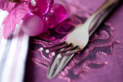 Elegant table setting. Knife and fork. Royalty Free Stock Photo