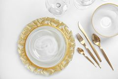 Elegant table setting on light background. Top view stock image