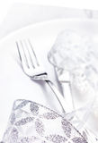 Elegant table setting place with festive decorations on white pl Royalty Free Stock Image