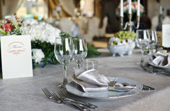 Elegant table setting. At a restaurant Stock Photos