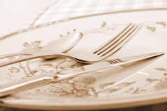 Elegant table setting in sepia tone Royalty Free Stock Photos