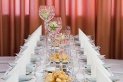 Elegant table setting for wedding Stock Image