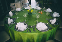 Elegant table with silver clutery and wineglasses Stock Photography