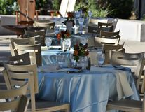 Elegant tables set up for a wedding banquet stock photo