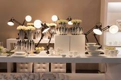Elegant tableware at Host 2013 in Milan, Italy Royalty Free Stock Photos