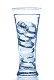 Elegant tall glass with ice and water drops Royalty Free Stock Photos