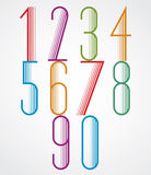 Elegant Tall Striped retro style numbers set. Stock Images