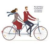Elegant tandem cyclists  illustration Royalty Free Stock Image