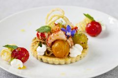 Elegant tart with crayfish. Thyme tart with crayfish, goat cheese mousse, fennel, tomatoes and crispy potato stock photography