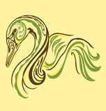 Elegant tattoo Swan. A swan illustrated with tattoo style and vintage color vector illustration