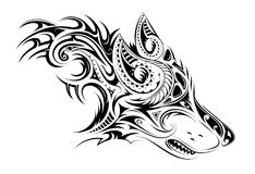 Elegant tattoo of the wolf. Tribal style wolf head tattoo Royalty Free Stock Photos