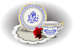 Elegant tea couple cup and plate. Napkin and rose, vector illustration, hand drawing Stock Photo
