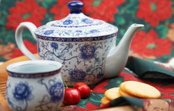 Elegant tea set. With snack, asian style Royalty Free Stock Photography