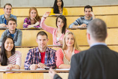 Elegant teacher with students at the lecture hall. Rear view of an elegant teacher with students sitting at the college lecture hall Stock Photo