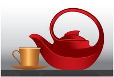 Elegant teapot and cup Stock Photography