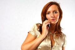 elegant telefonkvinna Royaltyfri Fotografi