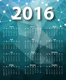 Elegant template for 2016 calendar Stock Photography