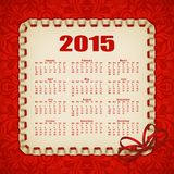 Elegant template of calendar. Elegant template for 2015 calendar year with lace ornament, frame, ruffles, ribbons, bow. Filigree decorative elements, vintage stock illustration