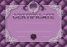 Elegant template of certificate, diploma. With decoration of lace pattern, ribbon, wax seal, laurel wreath, button-tufted texture, place for text. Certificate royalty free illustration