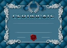 Elegant template of certificate, diploma. With decoration of lace pattern, ribbon, wax seal, laurel wreath, button-tufted texture, place for text. Certificate stock illustration