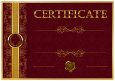Elegant template of certificate, diploma Stock Photos