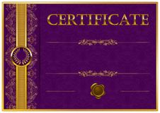 elegant template of certificate diploma with decoration of lace pattern ribbon wax