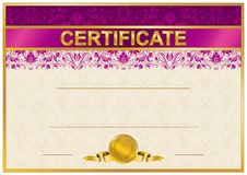 Elegant template of certificate, diploma royalty free illustration