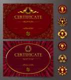 Elegant template of certificate, diploma. Set of elegant templates of diploma with lace ornament, ribbon, wax seal, drapery fabric, badges, place for text Royalty Free Stock Photos
