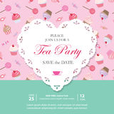 Elegant template with lacy cutout heart. Tea party invitation. Seamless pattern with sweets included. Stock Photos