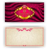 Elegant template for vip luxury invitation. Elegant template for luxury invitation, gift card with lace ornament, crown, ribbon, laurel wreath, drapery fabric Stock Images