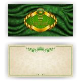 Elegant template for vip luxury invitation. Elegant template for luxury invitation, gift card with lace ornament, crown, ribbon, laurel wreath, drapery fabric Royalty Free Stock Photos