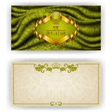 Elegant template for vip luxury invitation. Elegant template for luxury invitation, gift card with lace ornament, crown, ribbon, laurel wreath, drapery fabric Royalty Free Stock Photo