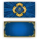 Elegant template for vip luxury invitation. Elegant template for luxury invitation, gift card with lace ornament, crown, ribbon, laurel wreath, drapery fabric vector illustration