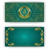 Elegant template for vip luxury invitation. Elegant template for luxury invitation, gift card with rope decor, lace ornament, crown, ribbon, laurel wreath vector illustration