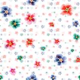 Elegant tender beautiful floral herbal gorgeous bright cute spring colorful mallow different shapes pattern. Watercolor hand sketch Stock Image