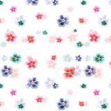 Elegant tender beautiful floral herbal gorgeous bright cute spring colorful mallow different shapes pattern. Watercolor hand sketch Royalty Free Stock Images