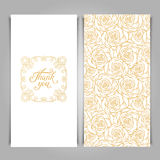 Elegant Thank You card template with golden seamless floral patt Royalty Free Stock Photos