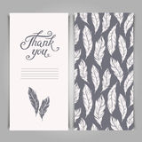 Elegant Thank You card template with silver feathers symbols Royalty Free Stock Images