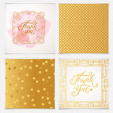 Elegant Thank You card templates with pink seamless patterns.  Royalty Free Stock Image