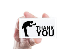 Elegant thank you note. With gentelman shape or silhouette Stock Photography