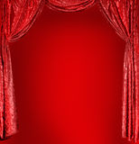 Elegant theater red curtains Stock Photography