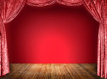 Elegant theater red curtains Stock Photo