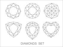 Elegant thin line diamonds icons logo set. Vector illustration