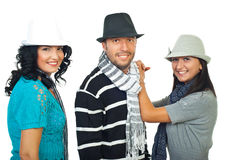 Elegant three people with hats Royalty Free Stock Photo