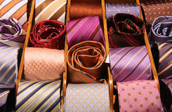 Elegant ties. Shopping for elegant dressing accessories. Colorful ties at a shop in Italy. Clothes selection in a store Stock Images