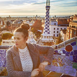 Elegant tourist woman in Barcelona, Spain looking aside Royalty Free Stock Image
